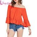 Elegante camisa suelta de las mujeres slash cuello camisas y camisetas orange ruffle hombro off delgado camisas de las señoras tops