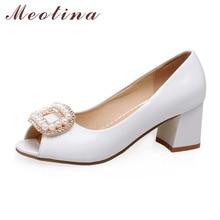 Meotina mode frauen schuhe pumpen herbst peep toe brautjungfern chunky medium heels weibliche sicken weiße schuhe große größe 41 42