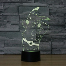 Color changing Flashing touch sensor control Pikachu Acrylic 3D LED Night Light Anime Pocket Monsters USB table Lamp