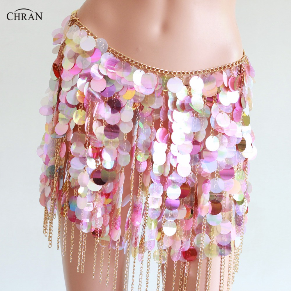 Chran Sequins Seascale Mini Skirt Disco Party Chain Necklace Belly Waist Chain Belt Festival Costume Dress Wear Jewelry CRS215