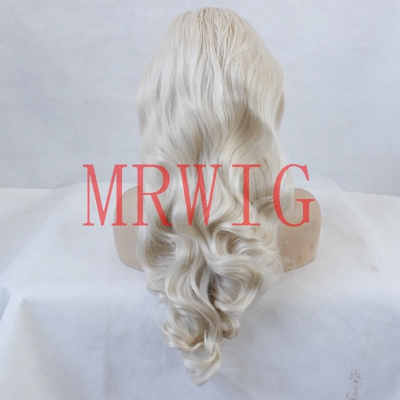 MRWIG fri del lång vågig syntetisk frampigg # 0809 blont äkta hår - Syntetiskt hår - Foto 4