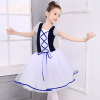 New Romantic Tutu Ballet Costume Girls Child Blue Velet White Long Tulle Dress Skate Ballerina Dress