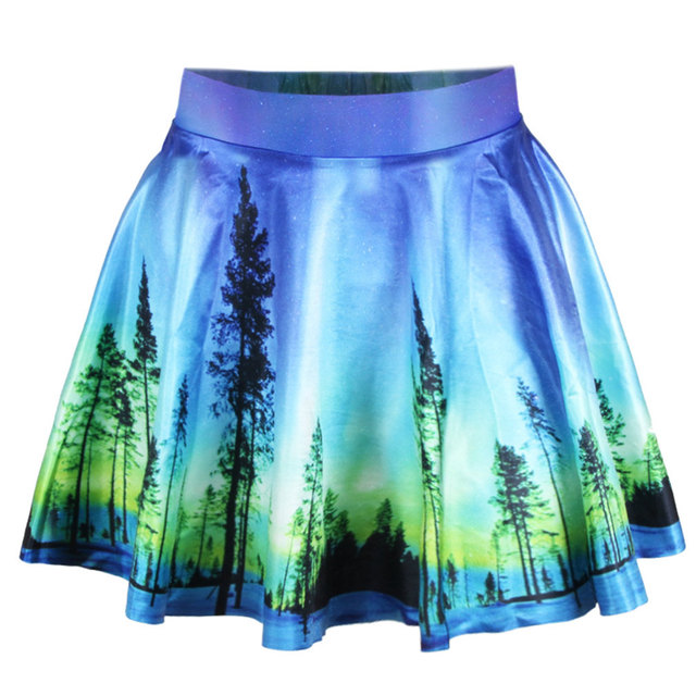 825bf2af89a3 Pretty Women Girl Sexy 3D Forest Stretchy Flared Pleated Skater Short Skirt  Lovely Cute Mini Casual Skater Skirt Party Daily
