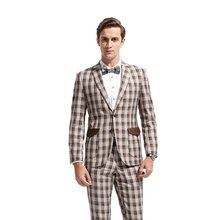DAROuomo Men Suit Mens Grid Jacket and Pants Only Accept Custom Tailor Service
