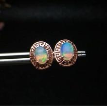 shilovem 925 sterling silver Natural opal stud Earrings fine Jewelry 5*7mm women trendy party wholesale new ce050701ago