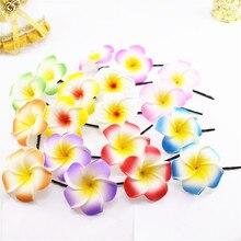 50 смешанный цвет пены Гавайский цветок Плюмерия ФРАНЖИПАНИ цветок свадебные зажимы для волос 4,5 см