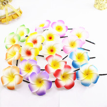 2019 New 50 mixed color Foam Hawaiian Plumeria flower Frangipani Flower bridal hair clip 4.5cm