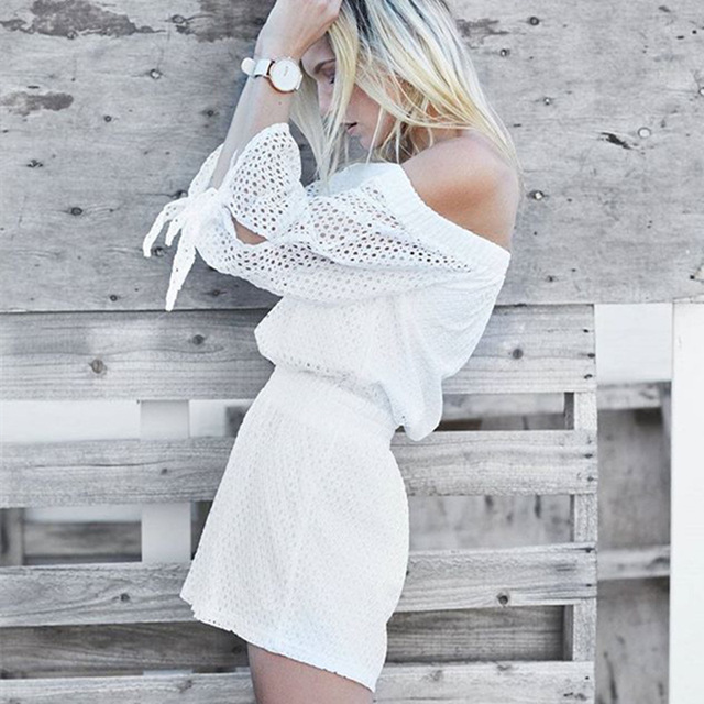 Sexy Off Shoulder Jumpsuits 2016 Summer White Lace Rompers Womens Jumpsuit Short Playsuit Fashion Casual suit Combinaison Femme