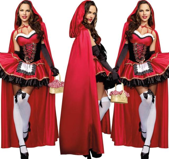 2016  Little Red Riding Hood Costume for Women Fancy Adult Halloween Cosplay Fantasia Plus Size XL Dress+Cloak