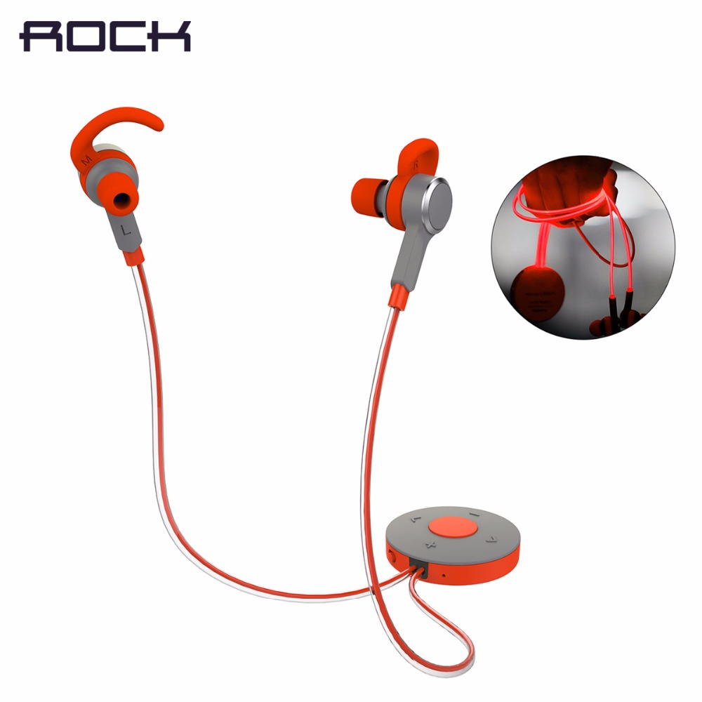 ROCK Mulu LED-Blitz Bluetooth Kopfhörer 3,5mm Ohrhörer Sport MP3 Player, In Ohr Sport Bluetooth 4,0 Kopfhörer