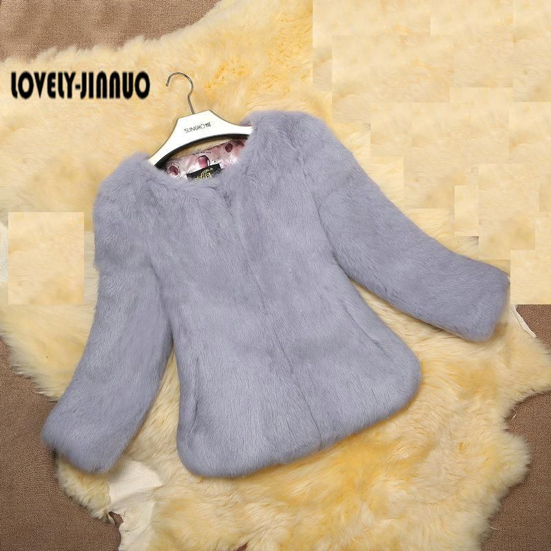 New genuine real natural full pelt rabbit fur coat short design women s fashion whole skin