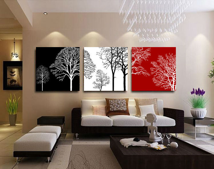 Free Shipping Black White And Red Tree Modern Wall Art Oil Painting Home Decor Picture Print On Canvas 3pcs Set Framed T 442 In Calligraphy From