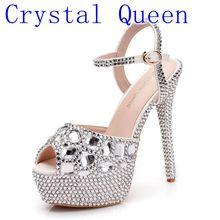 Cristal reine strass sandales chaussures de mariage femmes talons hauts extrêmes dames chaussures argent pompes femmes plate-forme sandales été