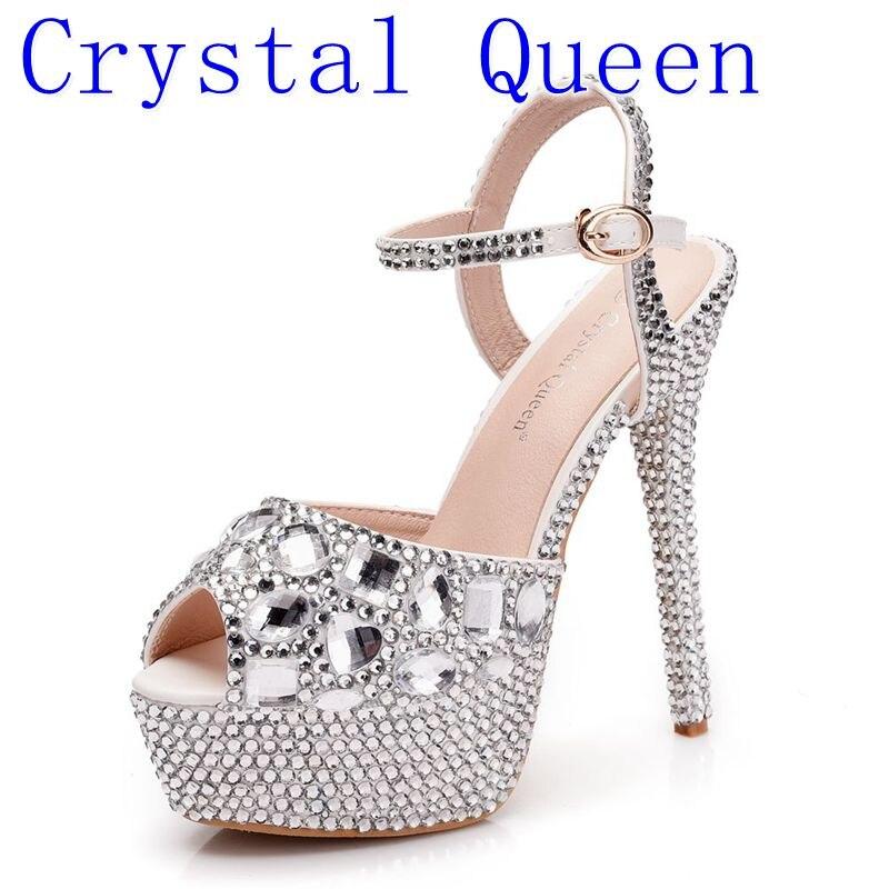 Crystal Queen Rhinestone Sandals Wedding Shoes Women Extreme High Heels  Ladies Shoes Silver Pumps Women Platform Sandals Summer 85d2033a8d94