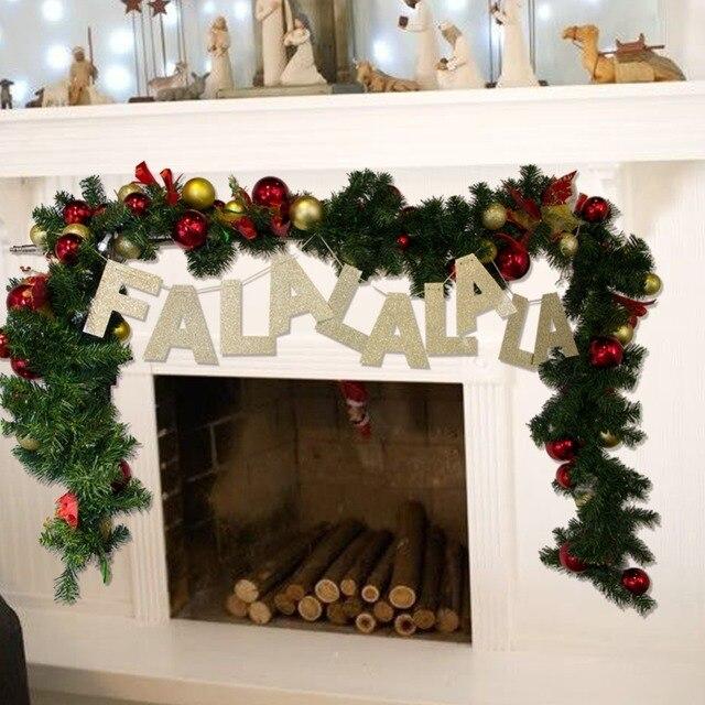 FALALALALA Glitter Gold Letter Banner Christmas Paper Banner Garland Bunting Photo Prop Xmas Home Mantle Fireplace & FALALALALA Glitter Gold Letter Banner Christmas Paper Banner Garland ...