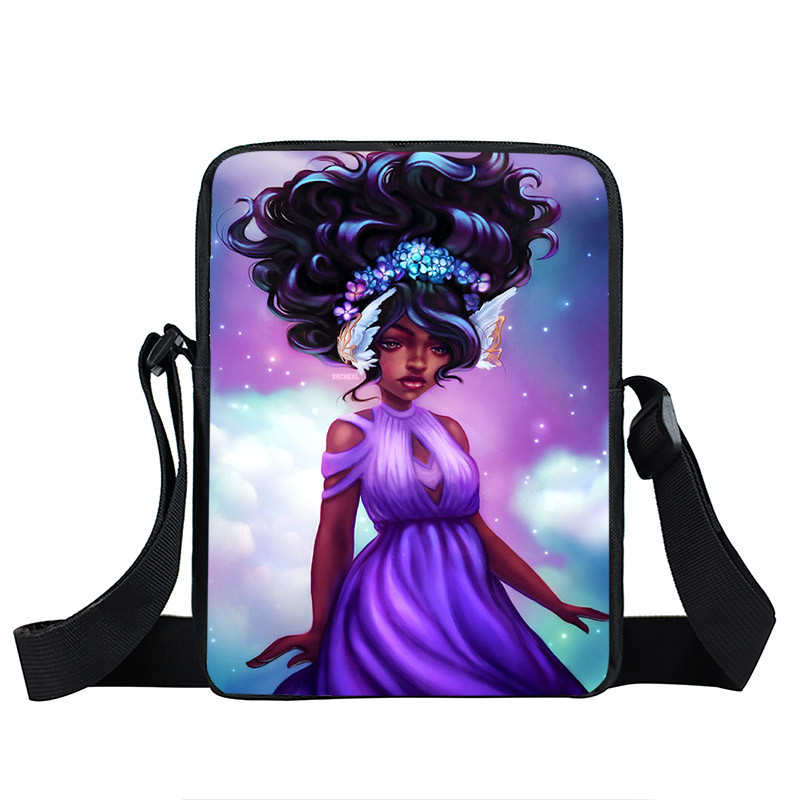 Afro Lady Girl messenger bag Africa Beauty Princess small shoulder bag brown women handbag mini totes teenager crossbody bags 16