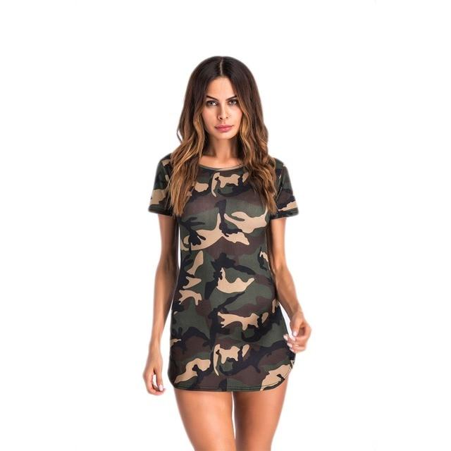 370204bfb6a Women Print Camouflage Bodycon Dress Short Sleeve O Neck Camo Summer Dress  Casual Female Ladies Sheath