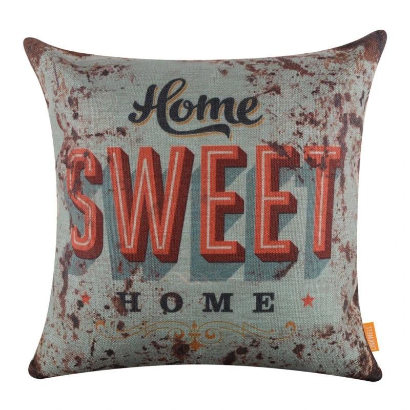 linkwell 45x45cm rustic blue home sweet home cushion cover decorative throw pillow case for sofa home decor pillowcase