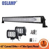 Oslamp 42 polegadas 594 W Curved LED Light Bar Combo 3-Row + 4