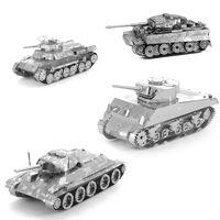 DIY 3D Metal Puzzles For Children Adults Model Jigsaw Metal Tank T34 Tank Japan 97 Tank