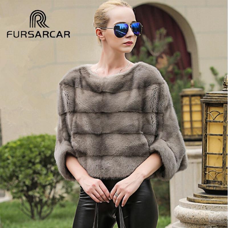 Abrigo de piel de visón Real de lujo de FURSARCAR para mujer Poncho de piel auténtica chal de invierno Natural chaqueta femenina capa completa para mujer