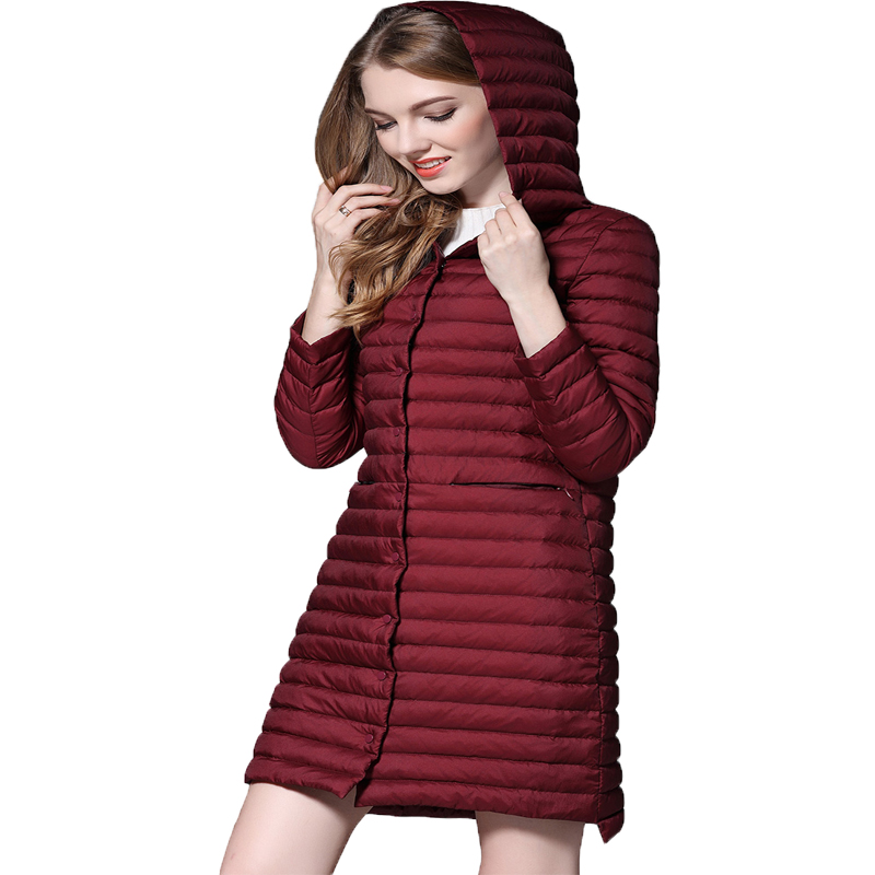 2017 New Women Medium Long   Down   Jacket Fashion Single Breasted Long Sleeve Slim Plus Size Thin Winter   Down     Coats   Parka Mujer