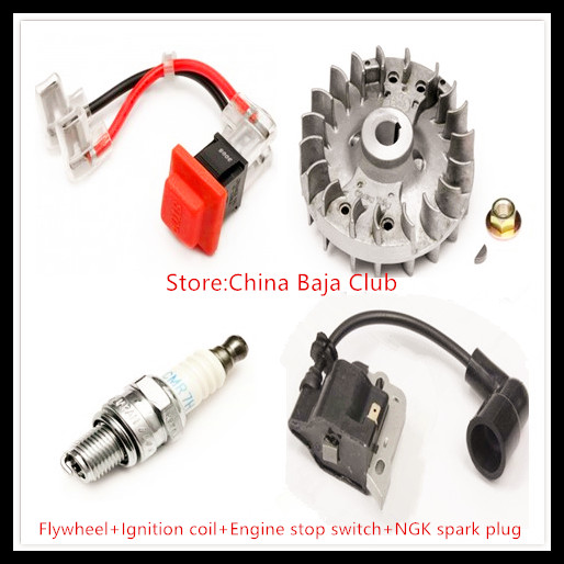 26cc 29cc Engine set (flywheel+ignition coil+engine stop switch+NGK spark plug)  for 1/5 rovan baja km hpi flywheel magneto fits 23cc 26cc 29cc 30 5cc cy fuelie engine for 1 5 hpi baja 5b 5t sc km rovan rc car toy parts