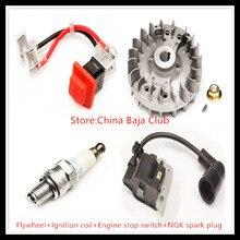 26cc 29cc Engine set (flywheel+ignition coil+engine stop switch+NGK spark plug)  for 1/5 rovan baja km hpi