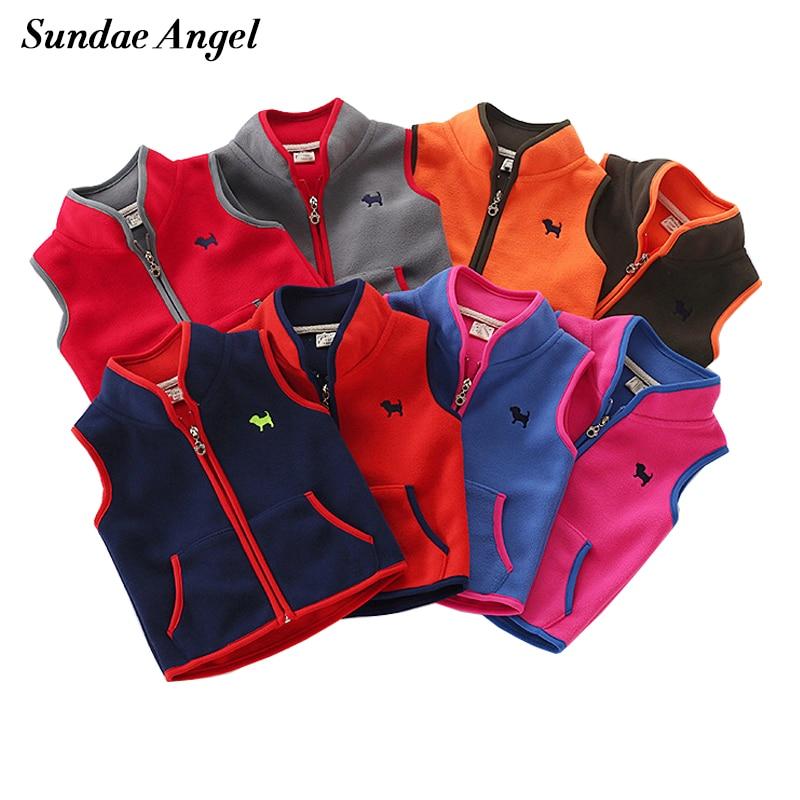 Sundae Angel Vest For Boy Girls Stand Collar Embroidery Dog Polar Fleece Kids Baby Vest Outerwear Coats Children Waistcoats 2-7Y