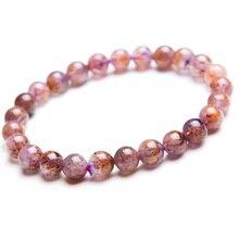 цена 100% Natural Cacoxenite Purple Rutilated Quartz Round Beads Bracelet 7mm Women Men Stretch Crystal Bracelet AAAA онлайн в 2017 году