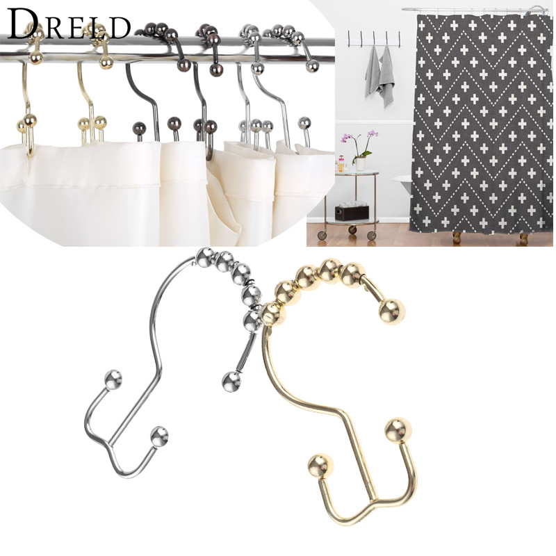 DRELD 12pcs Metal Double Glide Bathroom Shower Curtain Hook Ring ...
