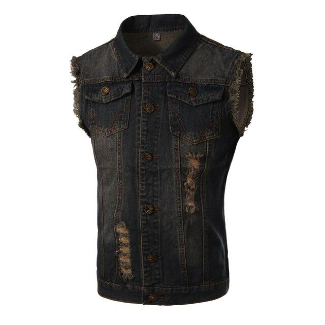 New Vest Men Spring Fashion Design Mens Slim Fit Denim Vest Male Casual Brand Sleeveless Jean Vest Men Colete Jeans Masculino