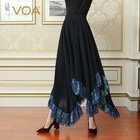 VOA глубокий Темно синие плюс Размеры Повседневное волна Асимметричный тяжелый шелк Юбка Для женщин макси длинные плиссированные юбки кратк
