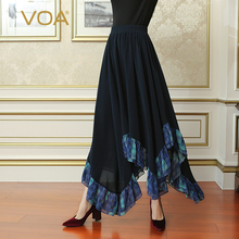 VOA Deep Navy Blue Plus Size Casual Wave Asymmetrical Heavy Silk Skirt Women Maxi Long Pleated Skirts Brief Solid Fall CLA02701 plus size pleated side slit asymmetrical skirt