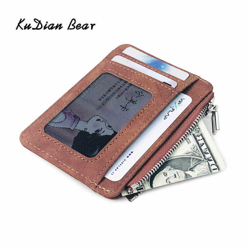 KUDIAN EBAR Simple hombres tarjetero Cartera de cuero bolsillo frontal tarjeta de crédito Id funda billetera de viaje porte carte BIH113 PM49