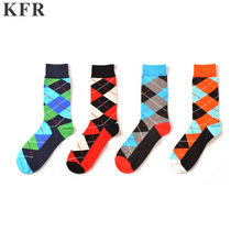 Happy Socks British style lattice Funny Mens Socks Mens Cotton Skateboard Hip Hop Street Crew Harajuku Art Fashion Short Socks цены