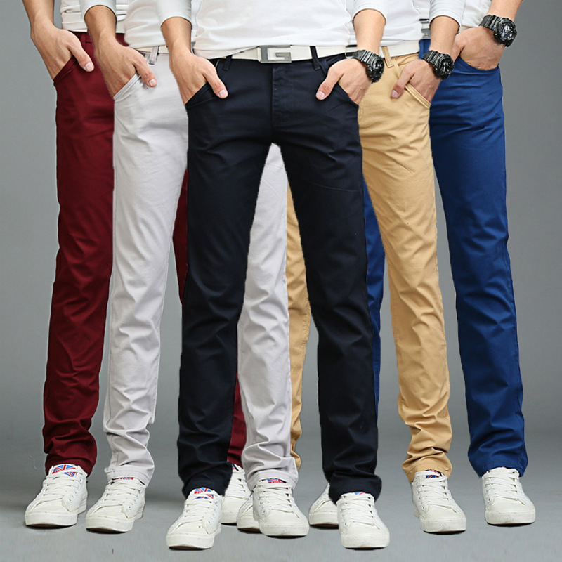 Swokii Pants Men Business Fashion Casual Solid Color Slim Straight Long Pants Spring Summer Trousers Male 7 Colors