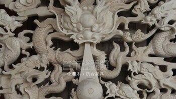 Китайская деревянная ручная работа резной девять дракон круглые бусины художественное украшение панель-экран