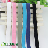 PC Free shipping 3/8'' 9mm single faced nylon elastic velvet ribbon solid color DIY accessory 25 yards