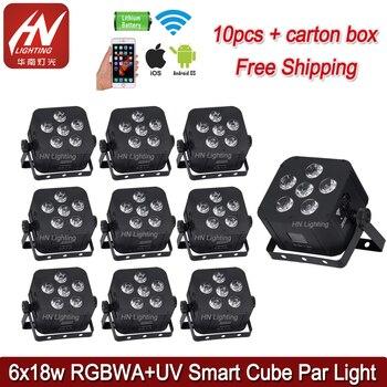 10 pcs DJ תאורת טלפון בקרת 6x18 w RGBWA + UV Wifi חכם uplight אלחוטי dmx סוללה מופעל led uplights|אפקטי תאורה לבמה|   -