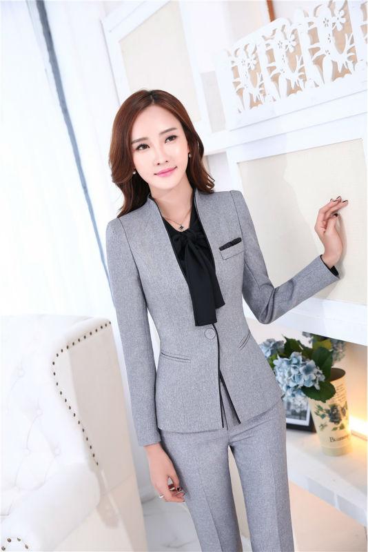 Uniforme Formal diseño profesional nuevo novedad Grey trabajo de negocios trajes  chaquetas y pantalones Mujer Pantalones conjunto trajes en Trajes de ... 539f83b0d413