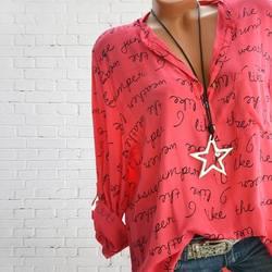 Для женщин модная футболка с буквенным принтом Футболки с v-образным вырезом фестивалей классика комфорта элегантность любовь и пуговицы