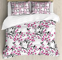 Cherry Blossom Duvet Cover Set Sakura Tree with Flourishing Flowers and Birds Black Silhouettes Decorative 4 Piece Bedding Set