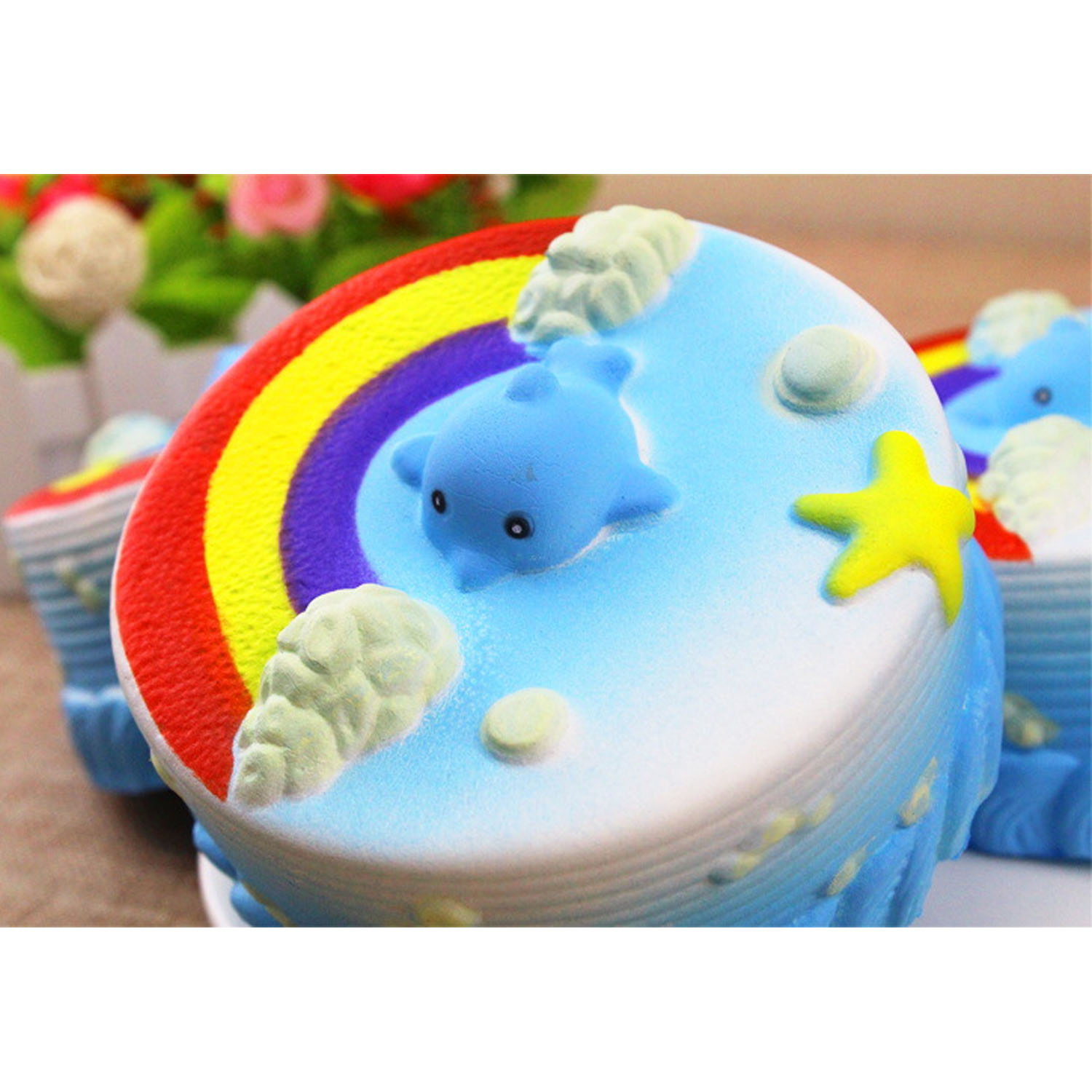 Satkago Cute Kawaii Soft Squishy Rainbow Cake Toy Slow Rising for Kids Adults Relieves Stress Anxiety Squeeze Antistress Squish