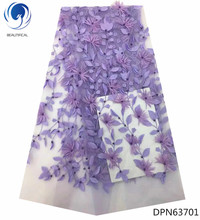 BEAUTIFICAL purple lace fabric with beads appliques for wedding dresses beautiful 3d floral high quality DPN637