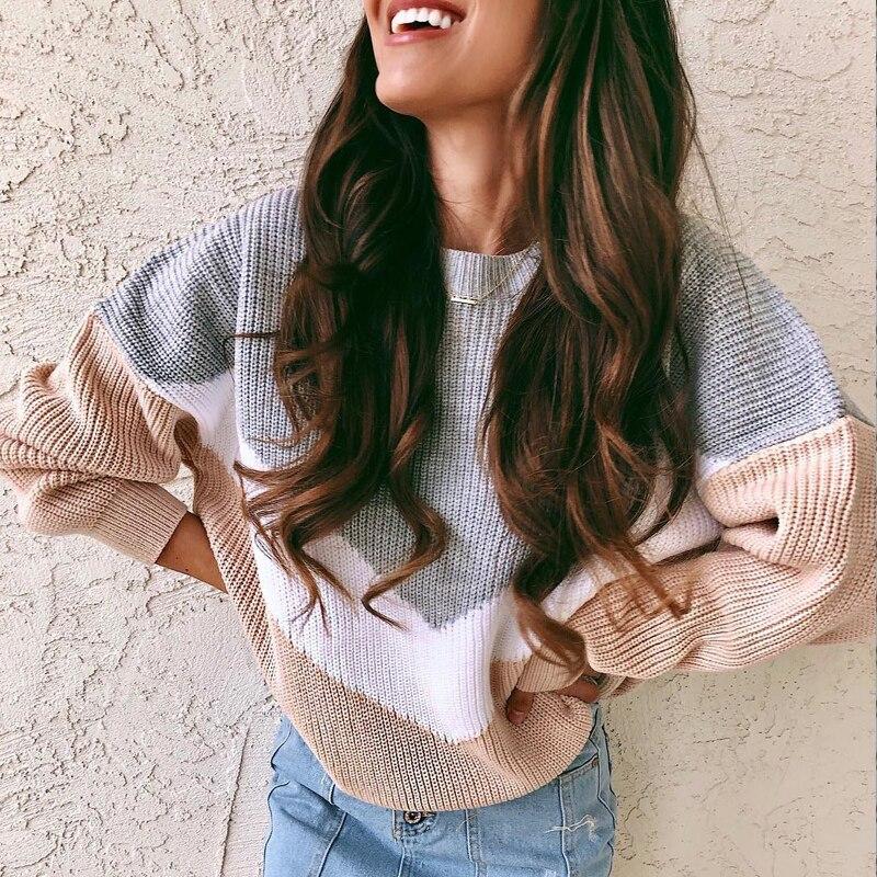 Suéteres de invierno de las mujeres 2019 jerséis de punto ropa de moda blanco Burr Jersey de punto de cuello V sexy impresión suéter