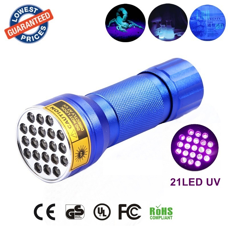 Original AloneFire 21 LED Flashlight UV Ultra Violet Flashlight Torch Light Lamp for money , credit card, document checking