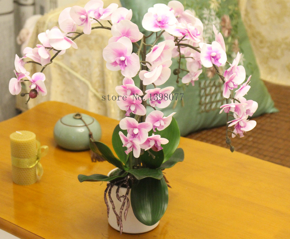1set flower vase artificial orchid flower arrangement bonsai real 1set flower vase artificial orchid flower arrangement bonsai real touch flower silicon orchid real touch orchid leaf glass vase in artificial dried reviewsmspy