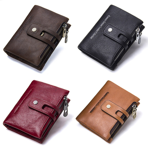 Image 5 - Contacts Genuine Leather Fashion Short Wallet Women Zipper mini Rfid Coin Purse Mini card holder Wallets for women women portfel