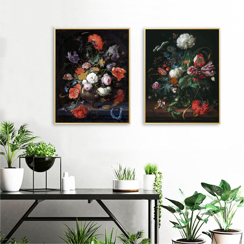 Antique Dutch Still Life Painting Wall Art Canvas Posters Watercolor Oil Painting Flowers Botanical Illustration Prints Decor